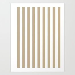 Narrow Vertical Stripes - White and Khaki Brown Art Print