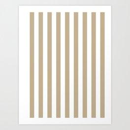 Narrow Vertical Stripes - White and Khaki Brown Art Print