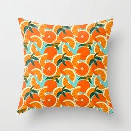 Orange Harvest - Blue Throw Pillow