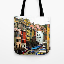 Cinque Terre Boats & Colorful Homes Tote Bag
