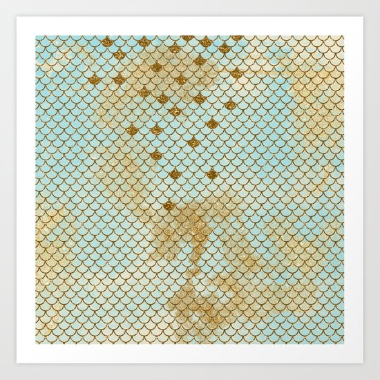 Mermaid Scales- Mermaidscales Gold and Aqua Fish Scales Art Print