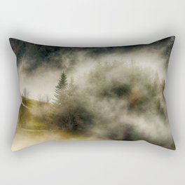 Foggy Forest Landscape Photo Rectangular Pillow