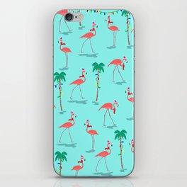 Christmas Flamingo Pattern iPhone Skin