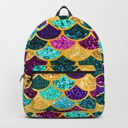 Glitter Purple, Aqua and Gold Mermaid Scales Pattern Backpack