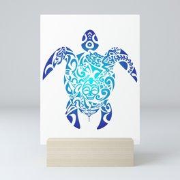 Tribal Sea Turtle Ocean Blue Hawaii Polynesian Maori Mini Art Print