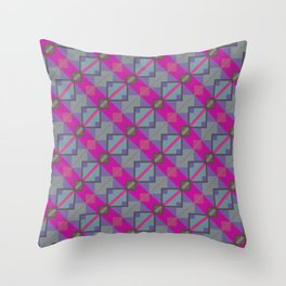 Grey Purple Aztec Pattern Throw Pillow