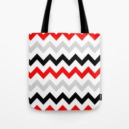 Chevron grey red black Tote Bag
