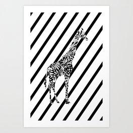 Giraffe in black and white I Art Print