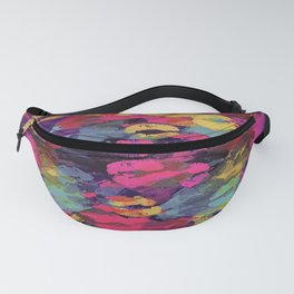 pink red yellow and purple kisses lipstick abstract background Fanny Pack