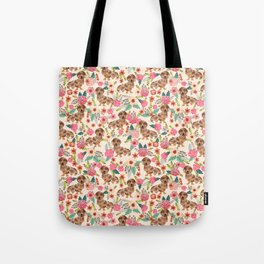 Dapple cream Dachshund doxie floral florals dog breed gifts for pupper must haves Tote Bag