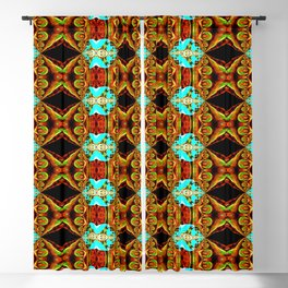 Neon Blue and Gold Spike Fractal Blackout Curtain
