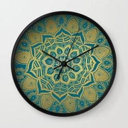 Gold Mandala tropique on Peacock blue Wall Clock