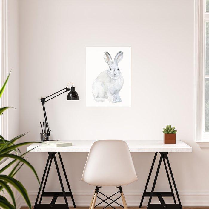Arctic Rabbit Watercolor Poster