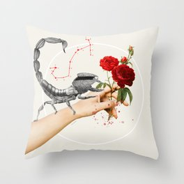 Scorpio - Digital Collage Throw Pillow