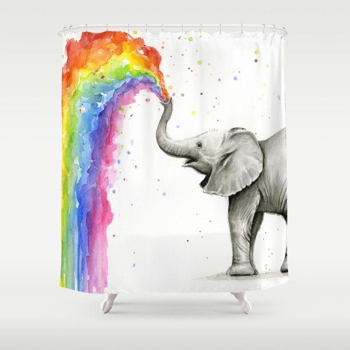 Baby Elephant Spraying Rainbow Whimsical Animals Shower Curtain By