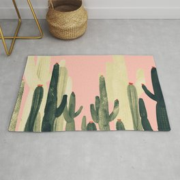 pink growing cactus Rug