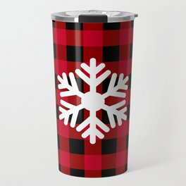 Red Buffalo Check - snowflake - more colors Travel Mug