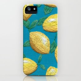 Hand embroidered lemons pattern on turquoise iPhone Case