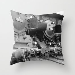 Old steam locomotive in the depot ZUG009CBx Le France black and white fine art photography by Ksavera Throw Pillow