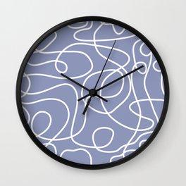 Doodle Line Art | White Lines on Dusty Purple Wall Clock
