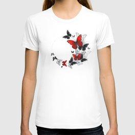 Flight of Black and Red Butterflies Morpho T-shirt