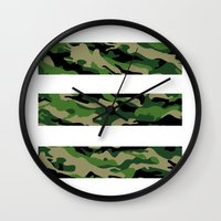camo Wall Clocks featuring Camo by angelasoto