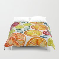 food Duvet Covers featuring Sliced Citrus Watercolor by Cat Coquillette