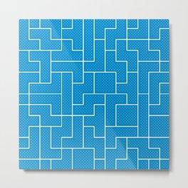White Tetris Pattern on Blue Metal Print