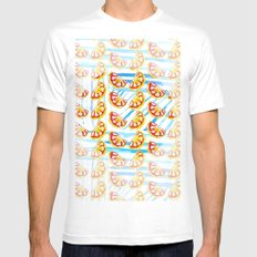 Stripes and Oranges MEDIUM Mens Fitted Tee White