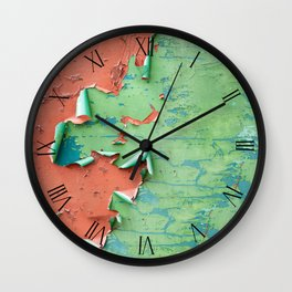 Green brown old cracked painted wall Wall Clock