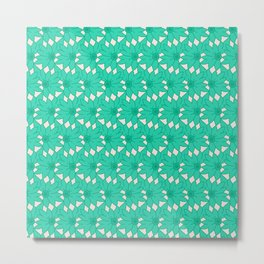 Teal Floral Spin Pattern Metal Print