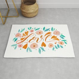 Love and flowers - orange and green Rug