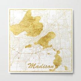 Madison Map Gold Metal Print