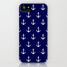 Maritime Nautical Blue and White Anchor Pattern iPhone Case