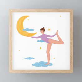 Feeling Free, ballerina, moon, clouds Framed Mini Art Print