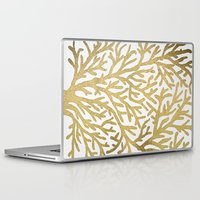 coral Laptop & iPad Skins featuring Gold Coral by Cat Coquillette