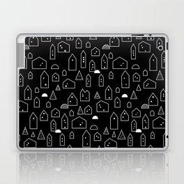 LITTLE HOUSES ((white on black)) Laptop & iPad Skin