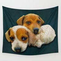 puppy Wall Tapestries featuring puppy love  by Ancello