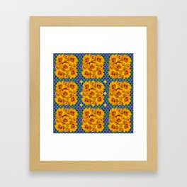 BLOCKS OF YELLOW SUNFLOWERS ON TEAL & PURPLE PATTERN Framed Art Print