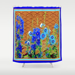 Blue-White Hollyhocks Garden Spice Colored Pattern Abstract Shower Curtain
