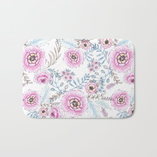 Watercolor . Pink flowers . Bath Mat