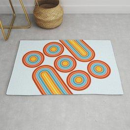 Retro Motion 2 – Orange / Yellow / Blue Abstract Stripe Pattern Rug