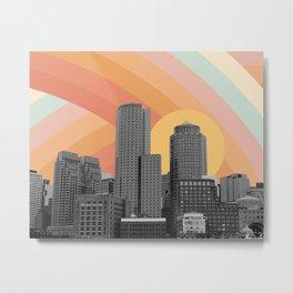 City Skyscraper Rainbow Sky Metal Print