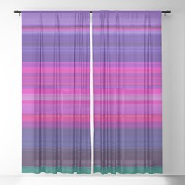 Vibrant Purple Pink and Green Stripes Sheer Curtain