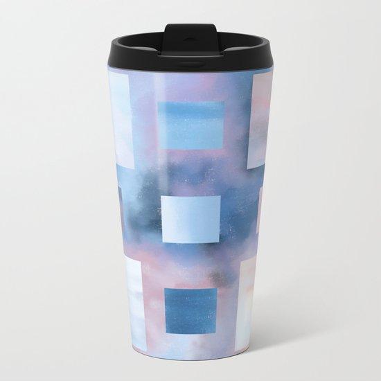 Pastel Squares (blue) Metal Travel Mug