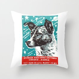1950s Laika Space Dog Russian Matchbox Label Throw Pillow