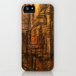 Rich Brown Bronze Heavy Textured Acrylic Painting iPhone Case