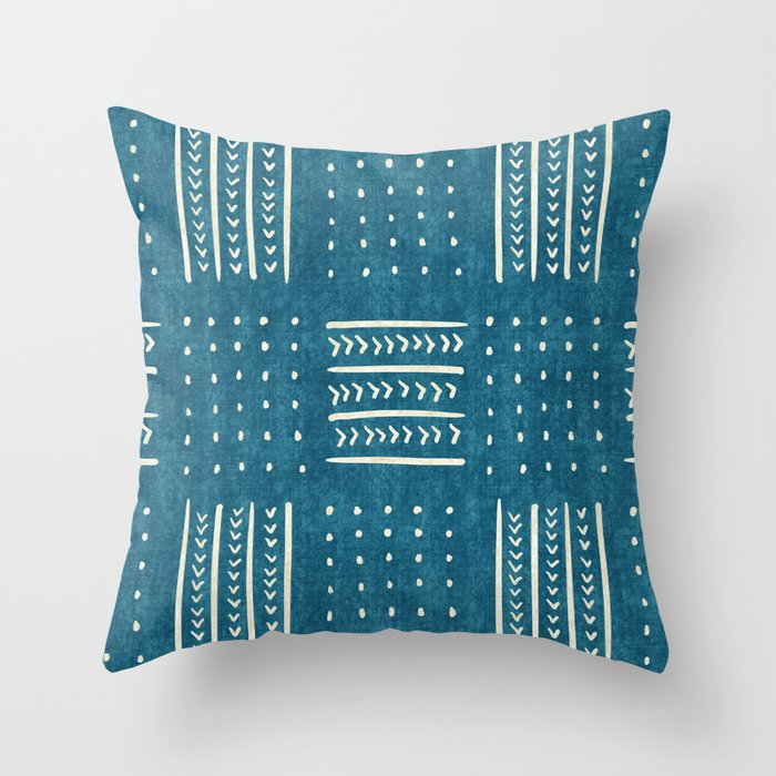 Mud Cloth Patchwork in Teal Throw Pillow