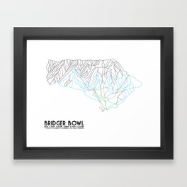 Bridger Bowl, MT - Minimalist Trail Art Framed Art Print