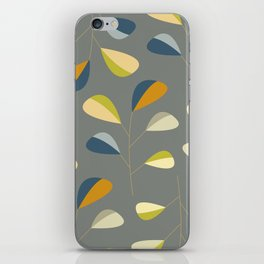 Mid Century Modern Graphic Leaves Pattern 3. dark grey iPhone Skin